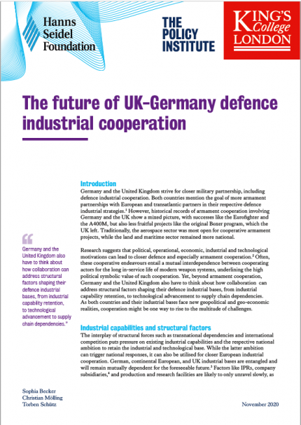 Cover: The future of UK-Germany defence industrial cooperation