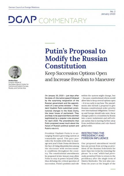 Putin S Proposal To Modify The Russian Constitution Dgap
