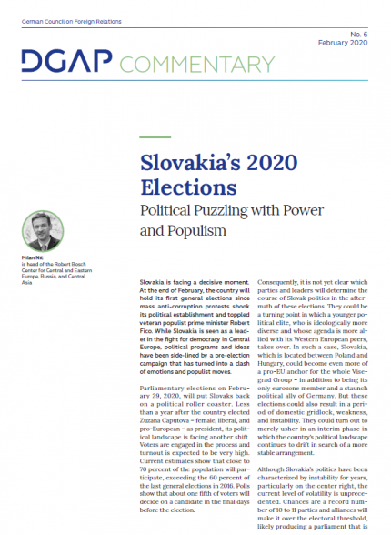 Cover of Nic commentary on 2020 Slovakian elections