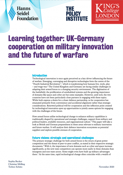 UK-Germany Military Innovation Cover